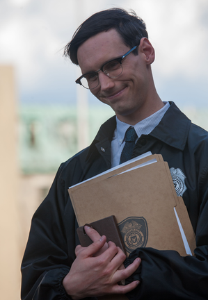 "Cory Michael Smith as Edward Nygma in the ""Arkham"" episode of GOTHAM airing Monday, Oct. 13 (8:00-9:00 PM ET/PT) on FOX. ©2014 Fox Broadcasting Co. Cr: Jessica Miglio/FOX"