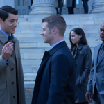 "GOTHAM: Detectives James Gordon (Ben McKenzie, second from L), Renee Montoya (Victoria Cartagena, second from R) and Crispus Allen (Andrew Stewart Jones, R) meet Harvey Dent (guest star Nicholas D'Agosto) in the ""Harvey Dent"" episode of GOTHAM airing Monday, Nov. 17 (8:00-9:00 PM ET/PT) on FOX. ©2014 Fox Broadcasting Co. Cr: Jessica Miglio/FOX"