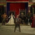 "GALAVANT - ABC's ""Galavant"" stars Luke Youngblood as Sid, Mallory Jansen as Madalena, Joshua Sasse as Galavant, Timothy Omundson as King Richard, Vinnie Jones as Gareth and Karen David as Isabella. (ABC/Bob D'Amico)"