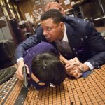"EMPIRE: Lucious (Terrence Howard, R) protects Anika in the ""False Imposition"" episode of EMPIRE airing Wednesday, Jan. 28 (9:00-10:00 PM ET/PT) on FOX. ©2014 Fox Broadcasting Co. CR: Chuck Hodes/FOX"