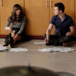 "GLEE: Rachel (Lea Michele, L) and Kurt (Chris Colfer, R) discuss a lesson plan in the ""Jagged Little Tapestry"" episode of GLEE airing Friday, Jan. 16 (9:00-10:00 PM ET/PT) on FOX. ©2014 Fox Broadcasting Co. CR: Tyler Golden/FOX"