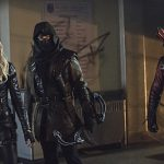 "Arrow -- ""Uprising"" -- Image AR312A_0294b -- Pictured (L-R): Katie Cassidy as Black Canary, John Barrowman as Malcolm Merlyn and Colton Haynes as Arsenal -- Photo: Cate Cameron/The CW -- © 2015 The CW Network, LLC. All Rights Reserved."
