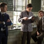 "GOTHAM: With the help of Edward Nygma (Cory Michael Smith, C), Detective James Gordon (Ben McKenzie, L) and Harvey Bullock (Donal Logue, R) set out to stop a biology teacher who has been harvesting the glands of his murder victims in the ""The Scarecrow"" episode of GOTHAM airing Monday, Feb. 9 (8:00-9:00 PM ET/PT) on FOX. ©2015 Fox Broadcasting Co. Cr: Jessica Miglio/FOX"