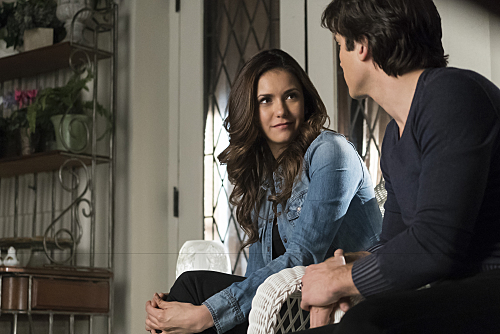 """The Vampire Diaries -- """"Because"""" -- Image Number: VD619a_0030.jpg -- Pictured (L-R): Nina Dobrev as Elena and Ian Somerhalder as Damon -- Photo: Tina Rowden/The CW -- �© 2015 The CW Network, LLC. All rights reserved."""