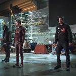 "The Flash -- ""Rogue Air"" -- Image FLA122B_0255b -- Pictured (L-R): Stephen Amell as Oliver Queen / Arrow, Grant Gustin as Barry Allen / The Flash and Robbie Amell as Ronnie / Firestorm -- Photo: Diyah Pera/The CW -- © 2015 The CW Network, LLC. All rights reserved."