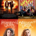 """American Ultra"" Theatrical and Teaser Posters featuring Jesse Eisenberg and Kristen Stewart. Vertical set-up."