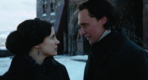"JESSICA CHASTAIN as Lady Lucille Sharpe and TOM HIDDLESTON as Sir Thomas Sharpe in Legendary Pictures' ""Crimson Peak"", a gothic romance from the imagination of director Guillermo del Toro."