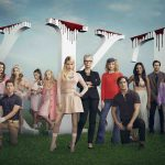 SCREAM QUEENS: Cast Pictured L-R: Lucien Laviscount, Glen Powell, Nasim Pedrad, Nick Jonas, Billie Lourd, Ariana Grande, Abigail Breslin, Emma Roberts, Jamie Lee Curtis, Skyler Samuels, Diego Boneta, Keke Palmer, Oliver Hudson, Lea Michele and Niecy Nash in SCREAM QUEENS which debuts with a special, two-hour series premiere event on Tuesday, September 22 (8:00-10:00 PM ET/PT) on FOX. ©2015 Fox Broadcasting Co. Cr: Matthias Clamer/FOX.