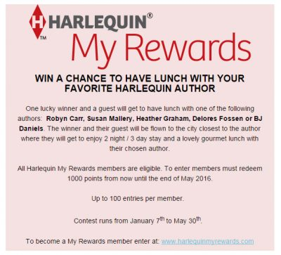 Harlequin My Rewards Graphic to win a lunch with your favorite Harlequin author. Photo courtesy of Harlequin.