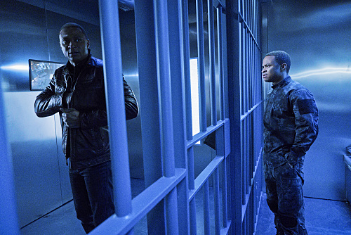 "Arrow -- ""A.W.O.L."" -- Image AR411b_0237b.jpg -- Pictured (L-R): David Ramsey as John Diggle and Eugene Byrd as Andy Diggle -- Photo: Liane Hentscher/ The CW -- �© 2016 The CW Network, LLC. All Rights Reserved."
